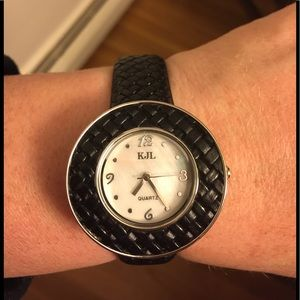 Kenneth Jay Lane Black New Braided Leather Watch